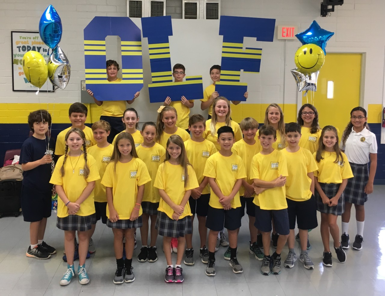 "The 6th grade ""senior"" class of OLF Elementary for the 2017-2018 school year."