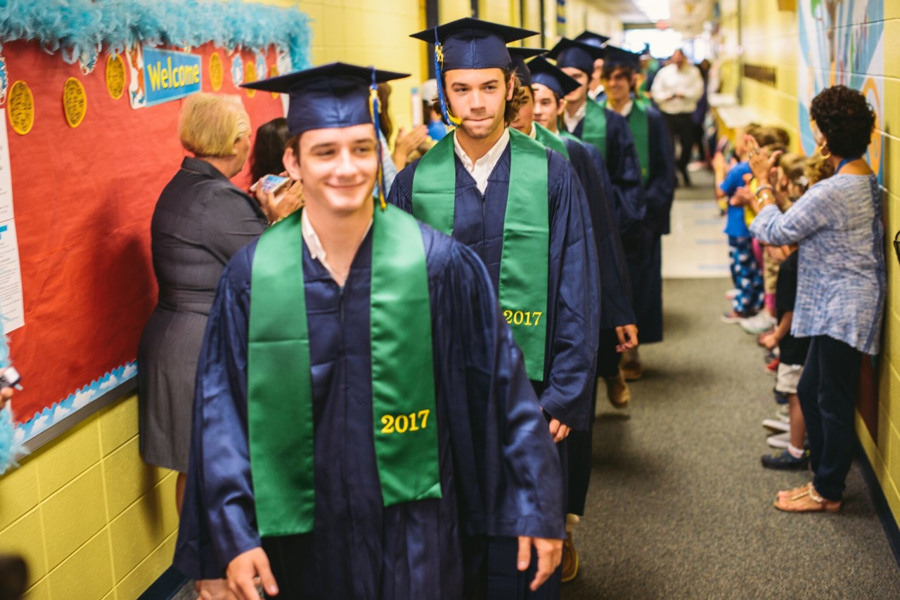 St. Patrick HS School graduating class of 2017 march through the halls of OLF
